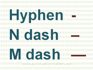 Compare the hyphen, n dash and m dash
